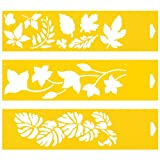 Set of 3 - 30cm x 8cm Reusable Flexible Plastic Stencils for Cake Design Decorating Wall Home Furniture Fabric Canvas Decorations Airbrush Drawing Drafting Template - Tree Leaf Leaves