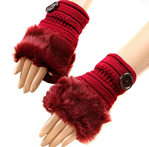 Womens Fashion Fingerless Gloves Knitted Crochet Half One Button Warmer Faux Rabbit Fur Gloves Mittens,Wine Red
