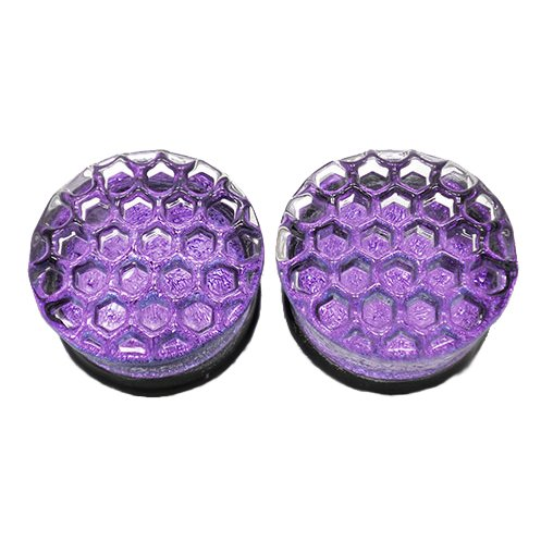 Purple Honeycomb Hand-Made Double Flared Glass Plugs -9/16