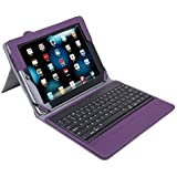 Lumsing For iPad 2 New iPad 3 3rd 4th Gen Purple Magnetic Smart Cover Leather Case Stand With Wireless Bluetooth Keyboard-Premium Keyboard Folio Case Cover for For Apple iPad 2/3/4