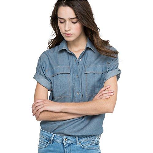 Pepe Jeans Donna Camicia A Maniche Corte Taglia 2 Blu