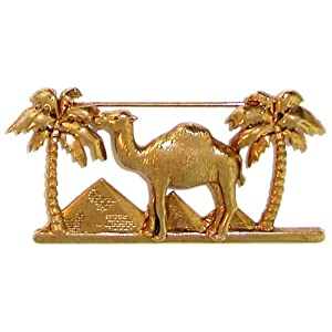"1 1/4 X 2 1/2"" Egyptian Camel And Palm Tree Pin, Signed Jj, In Gold , Quality Made in USA"