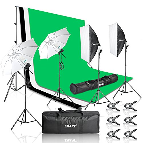 Emart-2000W-Photography-Light-Studio-Kit-with-85-x-10-Feet-Background-Support-System-3-Muslin-Backdrops-2-Umbrella-Continuous-Lighting-Kit-and-Carry-Bag-Black-White-Green