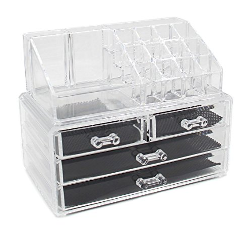 Superbpag Clear Acrylic Makeup Organizer Jewelry and Cosmetic Storage Nail Polish Holder, 2 Piece a Set (Nail Polish Jewelry compare prices)