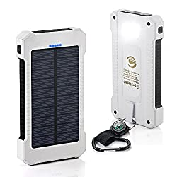 Solar Charger,10000mAh Solar Power Bank Dual USB Port Portable Charger,Solar Battery Charger for iPhone,iPad,iPod,Cell Phone,Tablet,Camera,Rain-Resistant Dust-Proof and Shockproof (White)