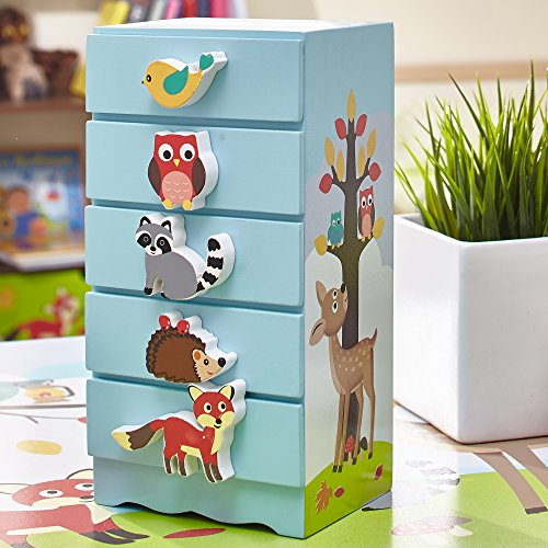 Fantasy Fields - Enchanted Woodland Thematic Kids Wooden Jewelry Box | Imagination Inspiring Hand Painted Details | Non-Toxic, Lead Free Water-based Paint