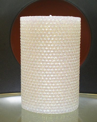 Deluxe 135 Hour-6 Inch Natural Beeswax Hybrid Pillar Glitter Candle, White Lotus Color dfl 3x6 inch flameless real wax pillar electronic led candle with timer with embossed gold pearl