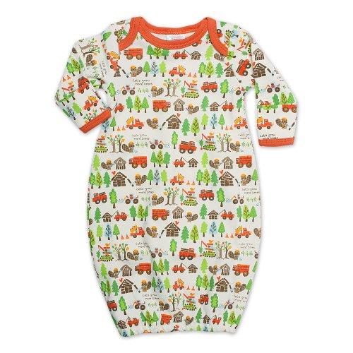 Zutano Unisex-Baby Newborn Busy Beaver Gown, Oats, 6 Months