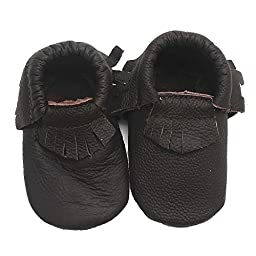 Sayoyo Baby Black Tassels Soft Sole Leather Infant Toddler Prewalker Shoes (0-6 months, Dark brown)