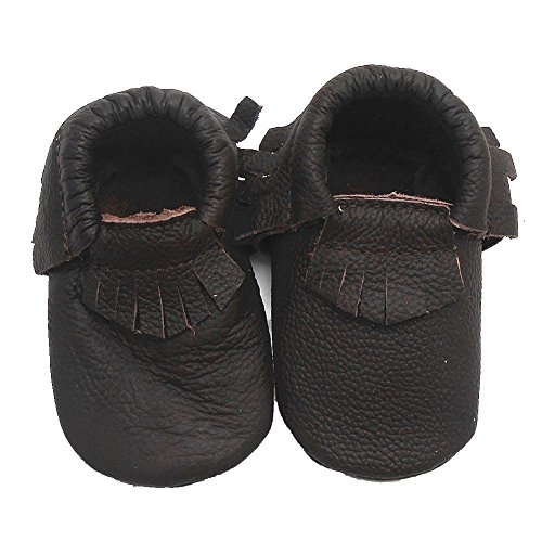 Sayoyo Baby Black Tassels Soft Sole Leather Infant Toddler Prewalker Shoes (6-12 months, Dark brown)