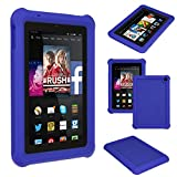 TECHGEAR® Bumper Case for Amazon Fire HD 7 (2014 Edition / 4th Gen / HD7) Rugged Heavy Duty Anti-Shock Rubber Protective Case with Added Corner & Edge Protection and Easy Grip Design + Screen Protector [BLUE] - Kids & School Friendly Case