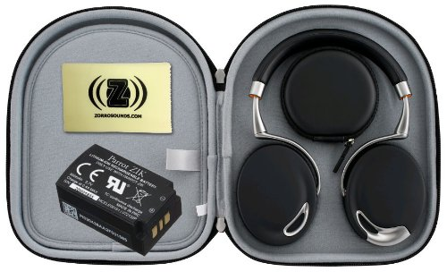 Parrot Zik Touch-Activated Bluetooth Headphones (Black) Bundle With Parrot Black Case, Parrot Zik Battery (3.7V - 800Mah) And Custom Designed Zorro Sounds Cleaning Cloth