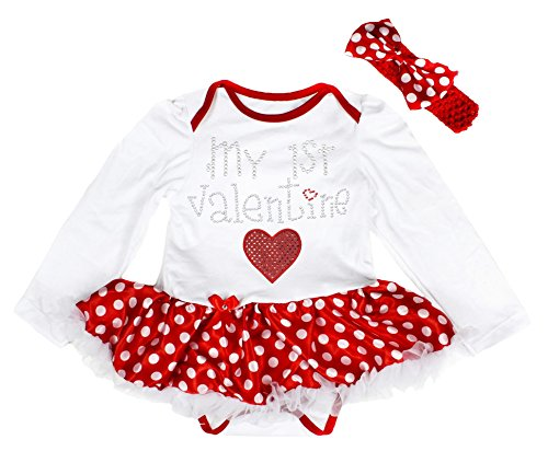 My 1st Valentine Baby Dress White Bodysuit Polka Dots Tutu Romper