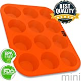 Silicone Mini Muffin Cupcake Baking Pan Tray - 12 Cup - 100% Pure Food Grade Non-stick Silicone - Orange - By Belgoods Bakeware
