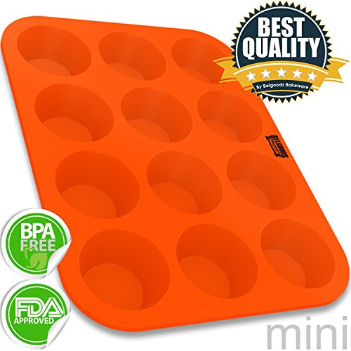 Silicone Mini Muffin Pan - 12 Cup 100% Pure Food Grade Silicone Mini Muffin Cupcake Baking Pan - Non-Stick, Flexible, Easy To Clean, Unbreakable - Usable In Oven, Microwave, Dishwasher, Freezer - Heat Resistant Up To 445°F - Start Baking The Best Muffins