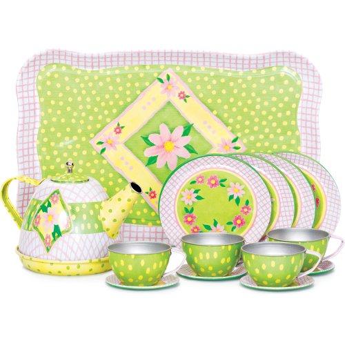Pretty Metal Tea Set -- Comes complete in an elegant suitacase