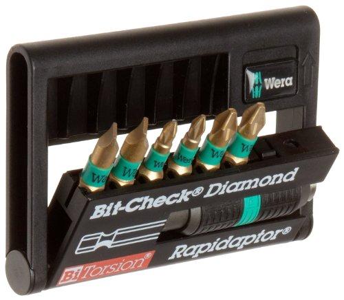 Wera 8700-6/PH BDC BiTorsion Diamond Coated Rapidaptor Bit-Check, 7-Piece
