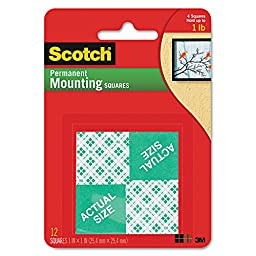 Scotch 111DC - Precut Foam 1 Mounting Squares, Double-Sided, Permanent, 16 Squares/Pack-MMM111DC