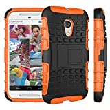 Motorola Moto G 2nd Generation Case, Sophia Shop Dual Layer Drop Protection Design 2 in 1, Black Hard Cover Combine Multi-color Option TPU Soft Middle Bumper Premium Slim Fit Impact Resistant Protective Armor Rugged Hard Case, Heavy Duty Tough Rugged Dual Layer Case, Tire Series Armor Defender Protective Tough Dual Layer Protection Case ONLY for Moto G 2nd Generation Case Toughbox Carrier Compatibility At&t, Verizon, T-mobile, Sprint, and All International Carriers (Orange)