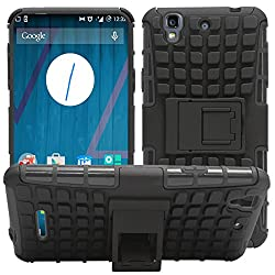 DMG Dual Hybrid Hard Grip Rugged Kickstand Armor Case for YU Yureka Plus (Black)