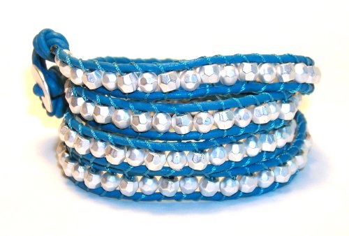 Silver Nugget Turquoise Leather Multi Wrap Bracelet Chunky Men Women