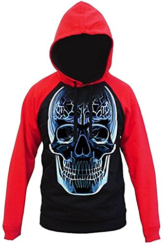 Scary Glass Skull Men's Hoodie Red/Black S-2XL (XL, Red/Black)