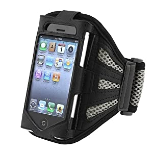 INSTEN Compatible with Apple® iPhone® 4/4S Sport Workout Armband - Black/Sliver