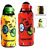 Tupperware Aquasafe Bottle, 500ml, Set Of 2 (with His And Her Sleeves)