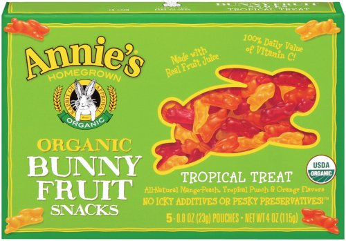 Annie's Homegrown Tropical Treat Organic Bunny Fruit Snacks, 4.0 Ounce Boxes (Pack of 4)
