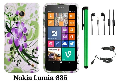 Nokia Lumia 635 (Us Carrier: T-Mobile, Metropcs, And At&T) Premium Pretty Design Protector Cover Case + Car Charger + 3.5Mm Stereo Earphones + 1 Of New Assorted Color Metal Stylus Touch Screen Pen (Splash-Ink Painting Purple Green Flower On White)