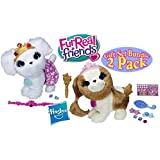 Fur Real Friends Pets With Style Groom N Style Princess Pup Pets White & Beige Gift Set Bundle 2 Pack