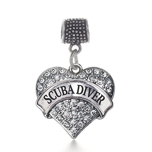 Inspired Silver Scuba Diver Pave Heart Memory Charm Fits Pandora Bracelets & Compatible with Most Major Brands such as Chamilia, Murano, Troll, Biagi and other European Bracelets
