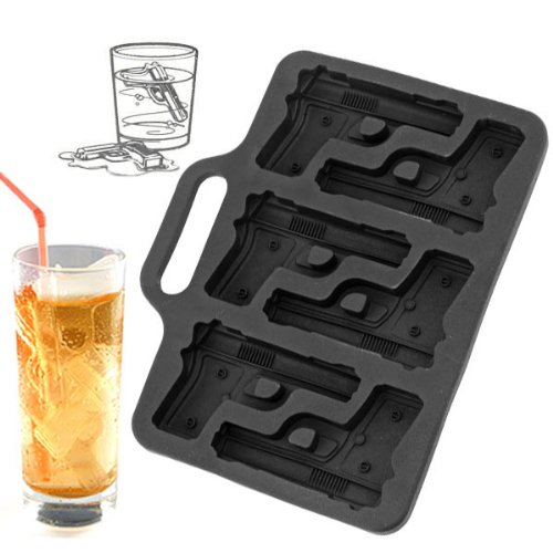 Novelty Soft 6-Pistol Ice Tray Mold - Black 1 Package. front-259205
