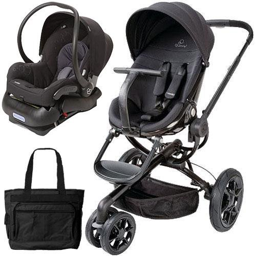 Quinny Moodd Stroller Travel System With Diaper Bag And Car Seat - Black Devotion