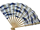 Japanese Geisha Odori Dance Hand Held SENSU Folding Fan Blue Surf Design, Made in Japan
