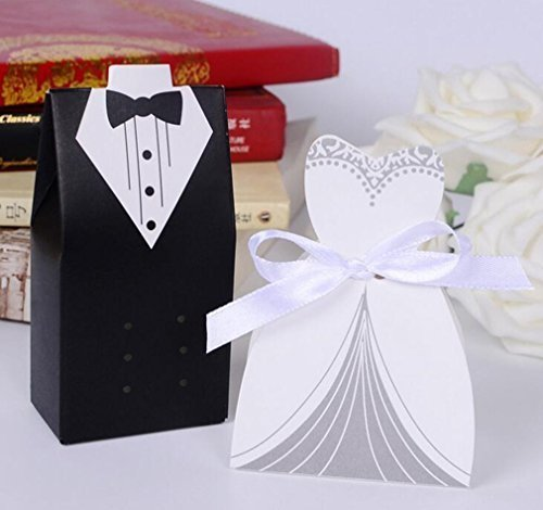 OliaDesign Wedding Party Creative Tuxedo Dress Groom Bridal Candy Gift Box with Ribbon (100 Pair)