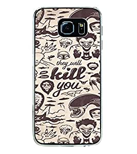 ifasho Animated Pattern horror skeleton and daring Back Case Cover for Samsung Galaxy S6 Edge