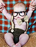 Newborn Nerd Baby Boy Girl Crochet Suspenders And Bowtie Diaper Cover Costume Photography Props