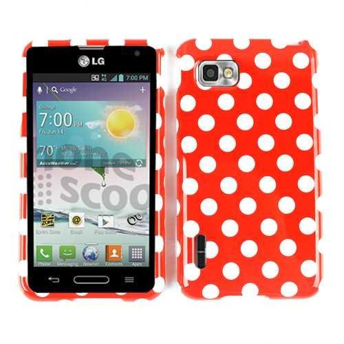 Cell Armor Snap-On Case for LG Optimus F3 - Retail Packaging - White Dots/Red