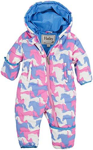 Hatley Baby Girls Newborn Winter Puffer Puzzle Piece Horses, Pink, 6-12 Months