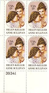 1980 HELEN KELLER ~ ANNE SULLIVAN #1824 Plate Block of 4 x 15 cents US Postage Stamps