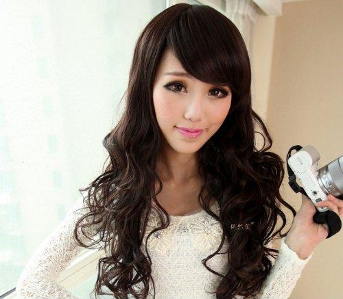 Zwzcyz Long Curly Hair Fleeciness Han Edition New Fashion Hair Wig High Temperature Wire Materials(Dark Brown)