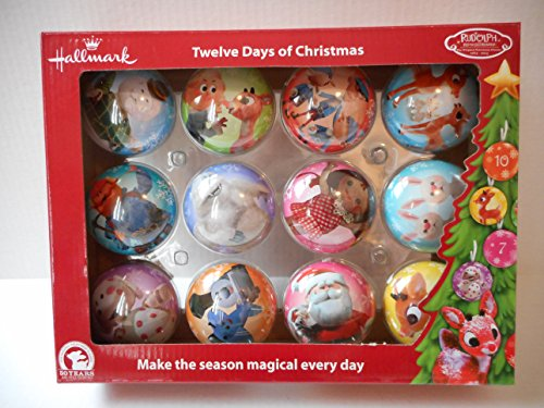 Hallmark 50th Anniversary Rudolph the Red Nosed Reindeer 12 Days of Christmas Advent Ornament Set of 12
