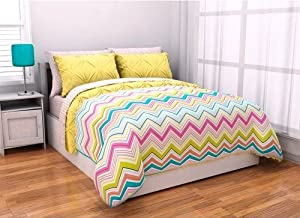 6pc Adorable Girl Yellow Pink Aqua Green Reversible Chevron Twin XL Comforter Set (6pc Bed in a Bag) with Sleep Mask