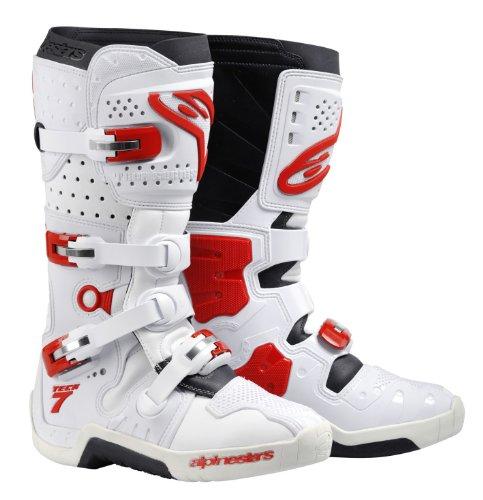 bottes de moto alpinestars bottes cross tech 7 couleur blanc rouge pointure 13. Black Bedroom Furniture Sets. Home Design Ideas