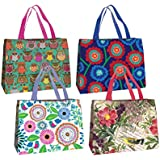 Jillson Roberts Forever Bags Reusable Grocery Shopping Totes in Assorted Designs, 4-Count (EFB001)