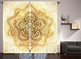 Ivory Curtains Mandala Decor by Ambesonne, Ethnic Doodle Design Asian Art Traditional Pattern Theme, Window Treatments, Living Kids Girls Room Curtain 2 Panels Set, 108 X 90 Inches, Beige Cream Brown