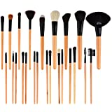 Peleustech Professional 24 in 1 Cosmetic Makeup Brush Kit with Roll-up Leather Case