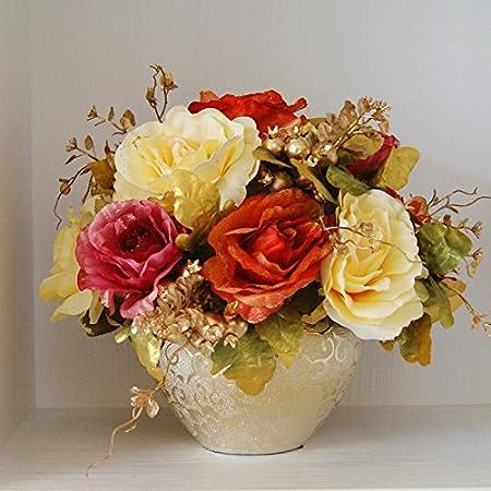 ZHUDJ El Kit Golden Floreros Flores Artificiales Flores Secas Flores De Seda Mesa De Comedor Decorado Con Adornos Florales, Las Artes Boutonniere Kit Mezclador De Colores