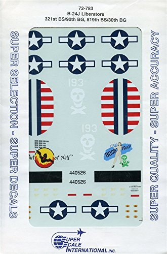 Super Scale Decals 1:72 B-24J Liberators 321st BS/90th BG 819th BS/30th #72-783*